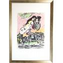 Marc Chagall / Die Verliebten im Himmel / gerahmt